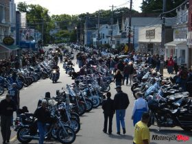 Crowded street of motorcycle riders