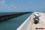 Seven Mile Bridge with old railway bridge beside it.  No stopping on the bridge Ha Ha