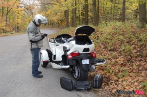 Compartment storage of the Can-Am Spyder Roadster