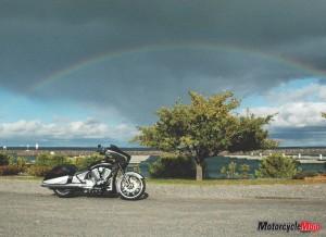 Bike under rainbow