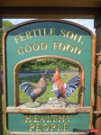 Farm stand sign, reflecting the Islands' homegrown food philosophy