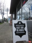 A sandwich board at East Side Re-Rides' new location in Vancouver