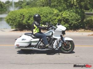 riding Kawasaki Vaquero