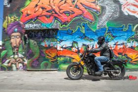 Honda Rebel Riding Past A Beautiful Painting
