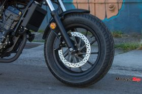 Front Wheel of a Honda Rebel