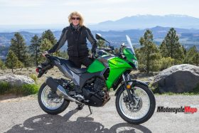 The 2017 Kawasaki Versys-X 300 in front of a Mountain Range