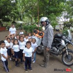 Meeting an Elementary School While Riding a Motorcycle in Central America