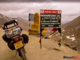 Motorcycle Riding Through Khardung La