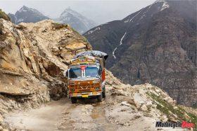 Bus Traveling Through Leh Manali Pass