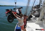 Loading a Motorcycle Onto the Stahlratte in Central America