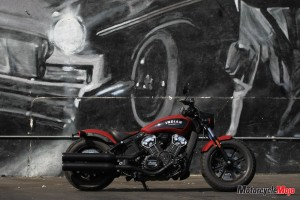 2018 Indian Bobber in Front of Art