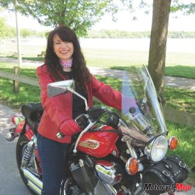 CiCi Rider with Her Motorcycle