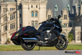 The 2018 BMW K1600B Bagger in Front of a Building
