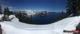 Viewing Crater Lake from Snowy Mountains in Oregon