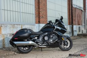 The 2018 BMW K1600B Bagger in Front of a Warehouse