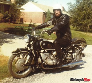 Walter Riding on a BMW R69S