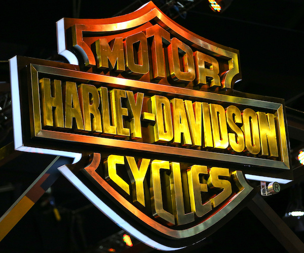 The logo of Harley-Davidson is pictured at the 38th Bangkok International Motor Show in Bangkok, Thailand March 28, 2017. REUTERS/Athit Perawongmetha - RC1727788A80