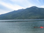 36 A tug works log booms out on Lower Arrow Lake, view from Nakusp