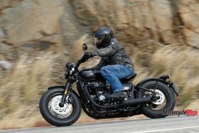 Riding Past Hills on the 2018 Triumph Bobber Black