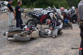 Fixing A Wheel At the GS Trophy Qualifier