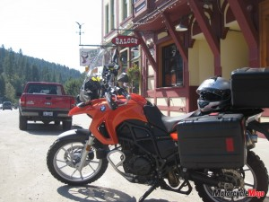 The F650GS rests in the heat of an August day in Greenwood