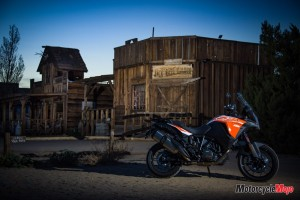 The 2018 KTM 1290 Super Adventure S Parked in Front of a Saloon