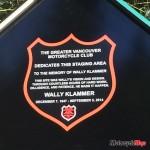 Wally Klammer staging area plaque at Chipmunk Creek