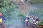 Wally (checked shirt) rides an enduro course in the 1970s