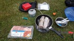 Chilcotin River Rancher Yard Campsite, trout bacon dinner